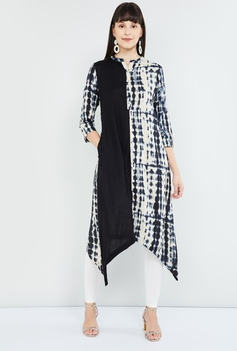 MAX Printed Band Collar Asymmetric Hem Kurta