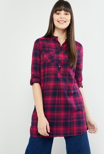 MAX Checked Tunic with Pockets
