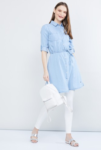 MAX Solid Shirt-Style Denim Tunic