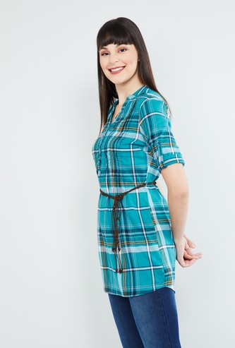 MAX Roll-Up Sleeves Checked Tunic