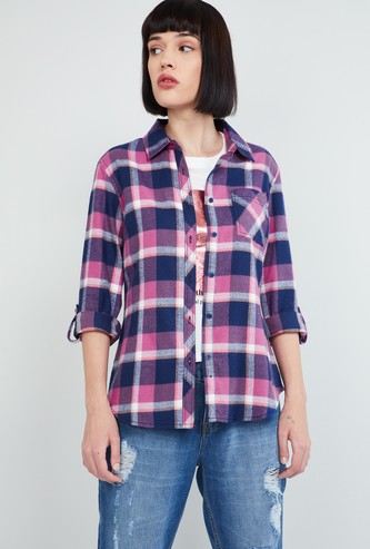 MAX Checked Shirt with Roll-Up Sleeves