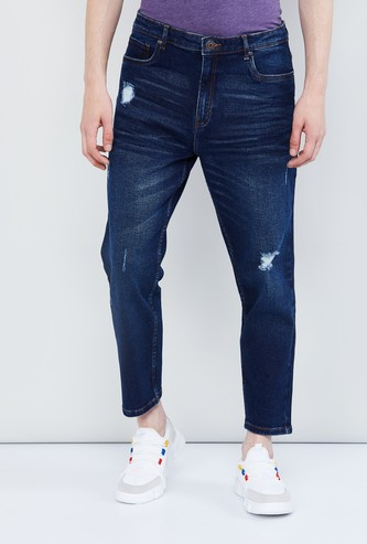 MAX Distressed Carrot Fit Jeans with Belt