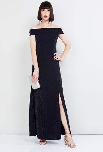 MAX Textured Off-Shoulder Maxi Dress