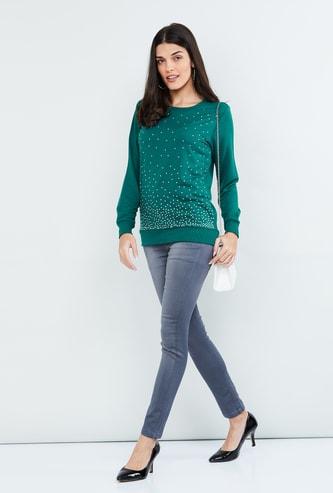 MAX Solid Embellished Full Sleeves Sweatshirt