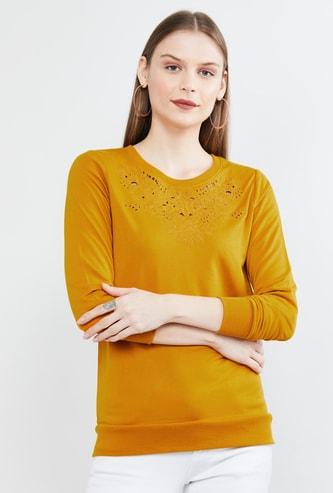 MAX Solid Schiffli Detail Full Sleeves Sweatshirt