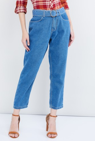 MAX Solid Cropped Jeans with Belt