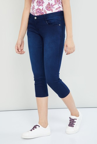 MAX Stonewashed Denim Capris
