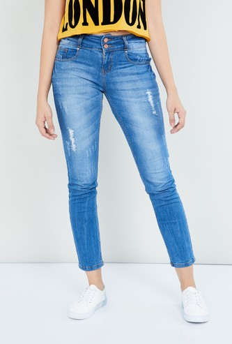 MAX Stonewashed Skinny Fit Distressed Jeans