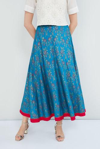 MAX Printed Elastic Waist Maxi Skirt