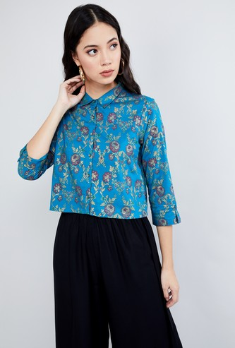 MAX Roll-Up Sleeves Floral Print Shirt