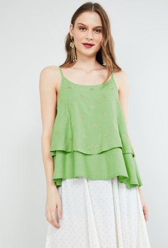 MAX Embroidered Layered Top