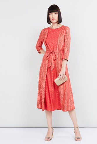 MAX Printed Dress with Tie-Up Detailing