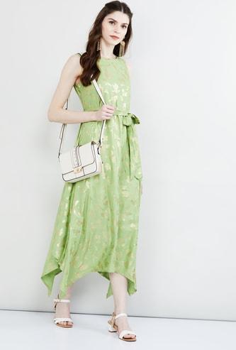 MAX Printed Asymmetric Maxi Dress