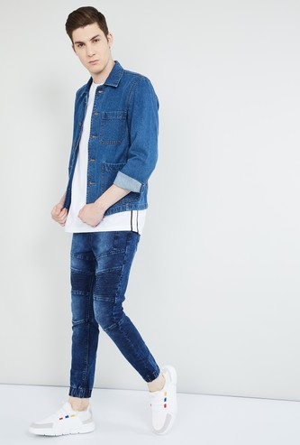 MAX Solid Buttoned Denim Jacket