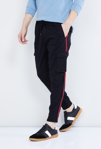 MAX Tape Detailed Drawstring Waist Track Pants