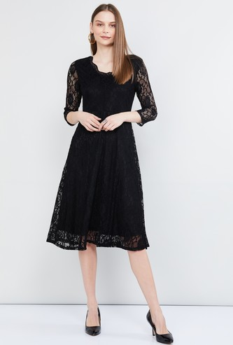 MAX Lace Detailed A-line Dress