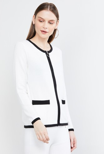 MAX Solid Round Neck Zip-Closure Jacket