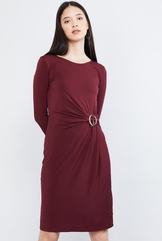 MAX Solid Sheath Dress with Gathered Detail
