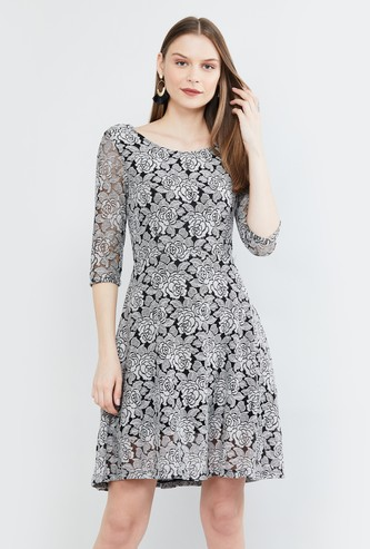MAX Floral Print Three-quarter Sleeves A-line Dress