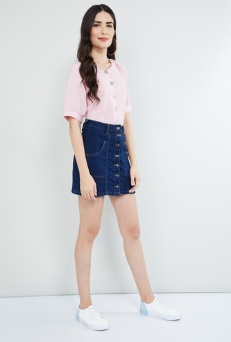 MAX Raglan Sleeves Top with Button Placket