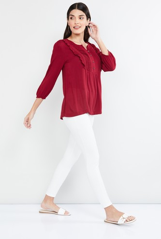 MAX Pintucked Top with Button Placket