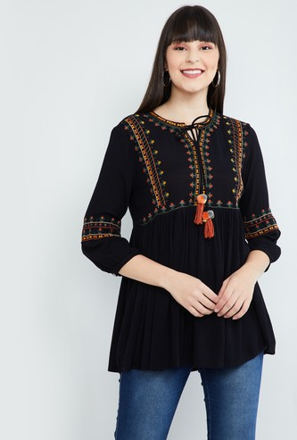 MAX Embroidered Tunic with Gathers