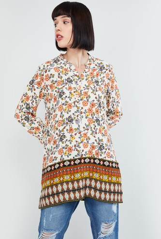 MAX Floral Print Tunic with Mandarin Collar
