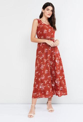 MAX Floral Print Midi Dress with Belt