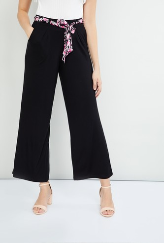 MAX Pleated-Front Palazzos with Printed Belt