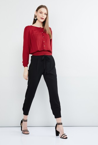 MAX Solid Cinched Waist Top