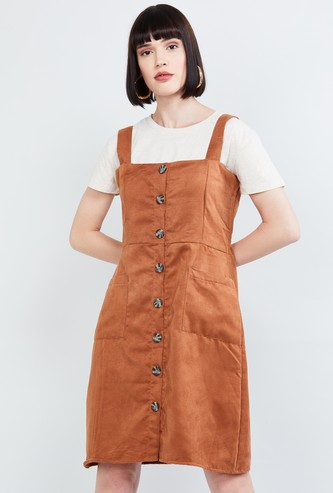 MAX Solid Pinafore Dress