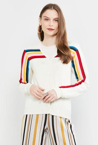 MAX Striped Button-Down Cardigan