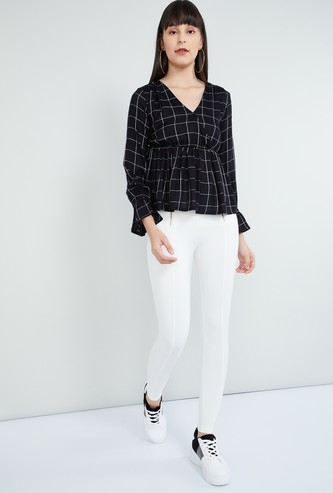 MAX V-neck Bell Sleeves Peplum Top