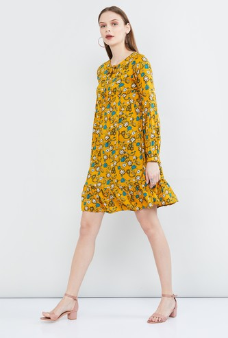 MAX Floral Print Full Sleeves Shift Dress
