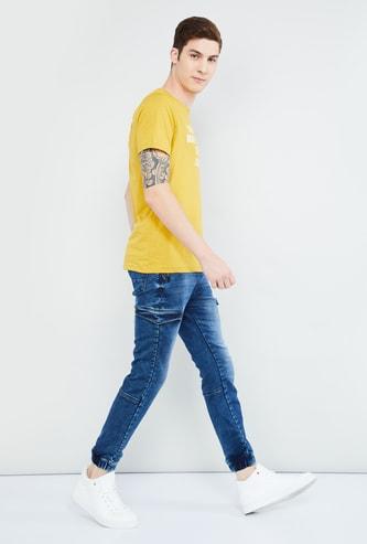 MAX Stonewashed Skinny Fit Denim Joggers