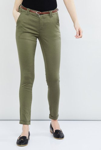 MAX Solid Slim Fit Trousers with Belt