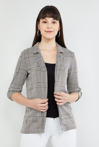 MAX Roll-Up Sleeves Checked Open-Front Casual Blazer