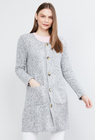 MAX Patterned Knit Jacket with Insert Pockets