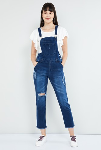 MAX Distressed Mid-Washed Dungaree