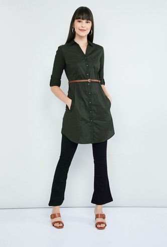 MAX Solid Buttoned Placket Tunic with Belt