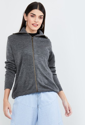 MAX Textured Zip-Front Hooded Cardigan