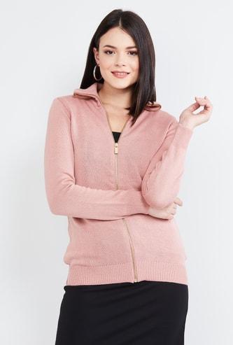 MAX Textured Zip-Front Hooded Cardigan