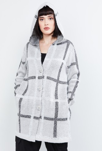 MAX Patterned Knit Hooded Cardigan