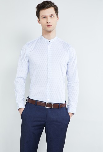 MAX Printed Full Sleeves Band Collar Shirt