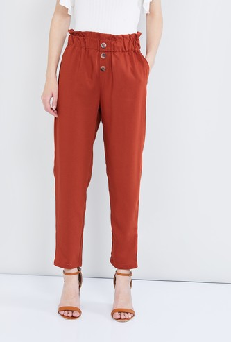 MAX Solid Paperbag Waist Trousers