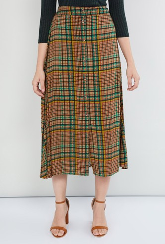MAX Checked Midi Skirt with Button Placket