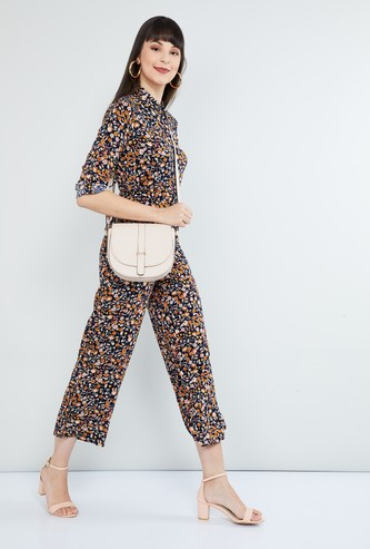 MAX Roll-Up Sleeves Floral Print Jumpsuit