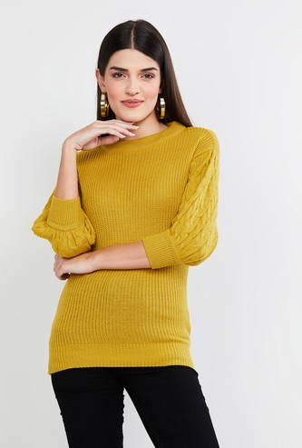 MAX Cable Knit Puffed Sleeves Sweater