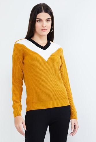 MAX Colourblock V-neck Sweater