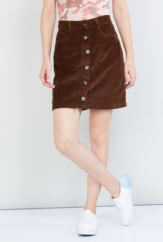MAX Solid Corduroy Button-Down Skirt